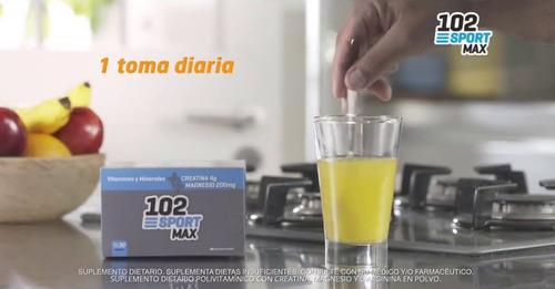 102 sport max vitaminas creatina magnesio 30 sobres