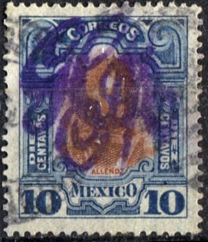 1025 revolución scott #375 g carranza morado 10c usado 1914