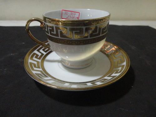 #10307 xícara de chá em porcelana italiana com ouro!!!
