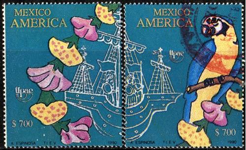 1050 méxico america u p a e p  2 piezas usadas 1990