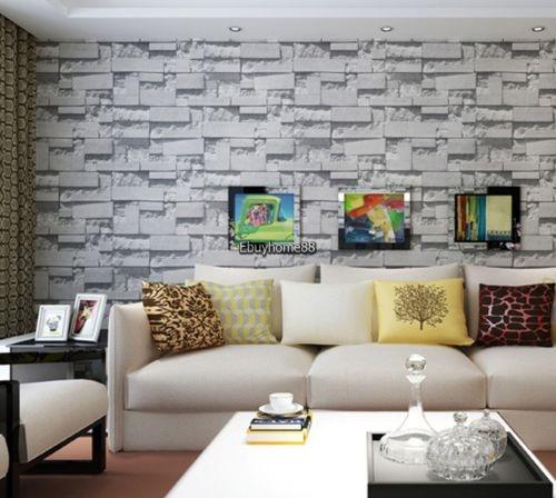10m Grande 3d Ladrillo Piedra Papel Pintado Del Pvc Salon