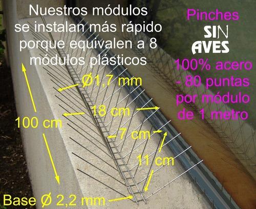 10m pinches pinchos repelente espanta palomas pajaros - no lastiman ni matan animales
