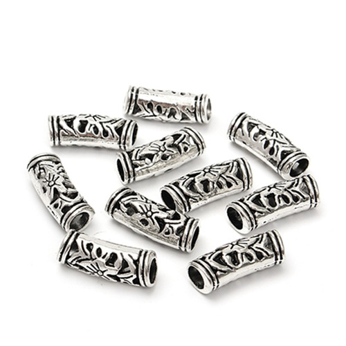 10pcs 5mm anticuario flor de plata tubo curvado perlas espac