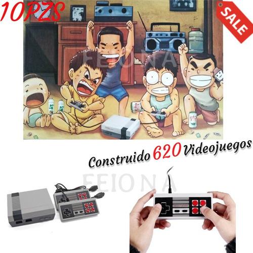 10pcs construido 620 videojuegos retro clásico mini consolas