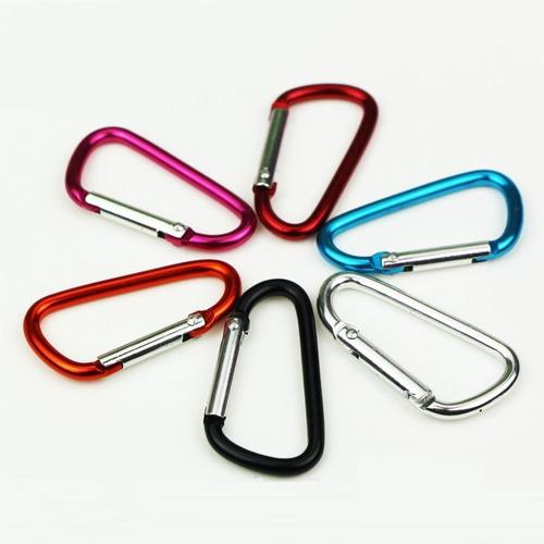 10pcs. mini mosquetão de alumínio várias cores (tipo d)