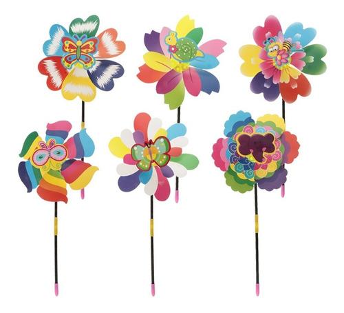 10pcs molino de viento flores de primavera plástico decorac