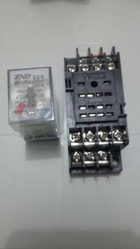 10pçs - rele 14 pinos 4 contatos rev 24vcc com led + base