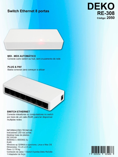 10pçs switch 8 portas 10/100mbps alta performance deko