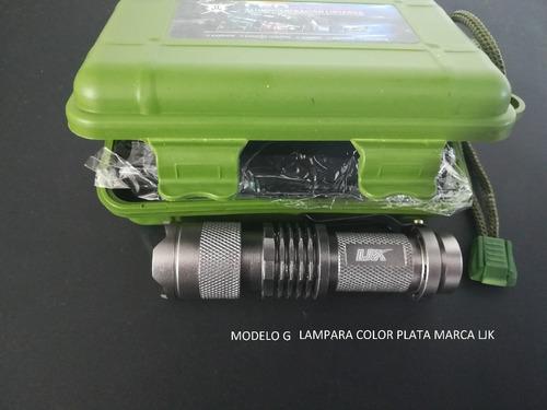 10pz lampara tactica mini  5 modos camu recargable ledq5