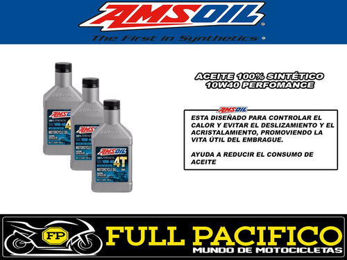 10w40 amsoil performance pack 3 sintetico aceite moto