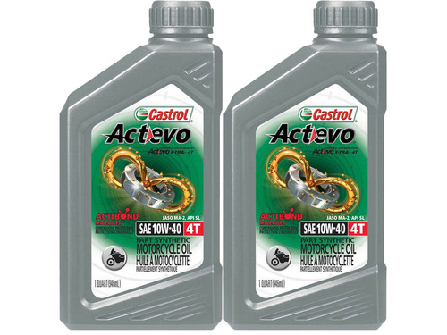 10w40 castrol actevo 4t semi sint pack 2l aceite de moto