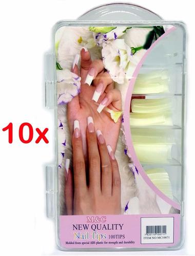10x caixa 100 unhas tips reta bailarina gel postiça acrigel