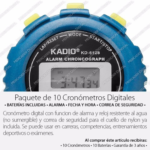 10x cronómetro deportivo digital profesional alarma mayoreo