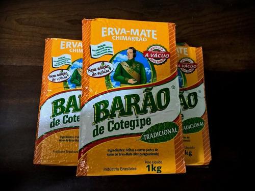10x erva mate barão tradicional 1kg vácuo frete grátis