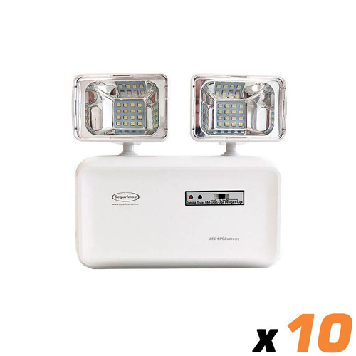 10x luminaria emergencia segurimax 2 farois 600 lumens a0