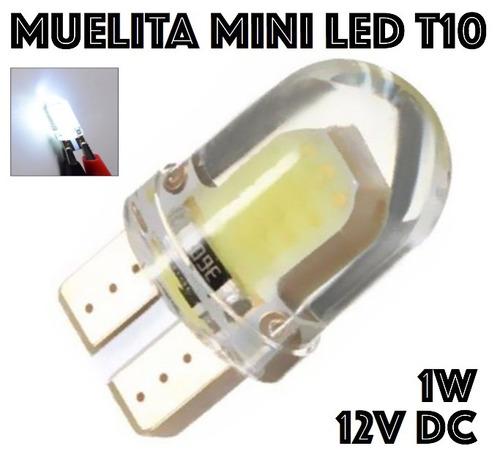 10x muelita mini t10 led silicon 12v 1w blanca alto brillo