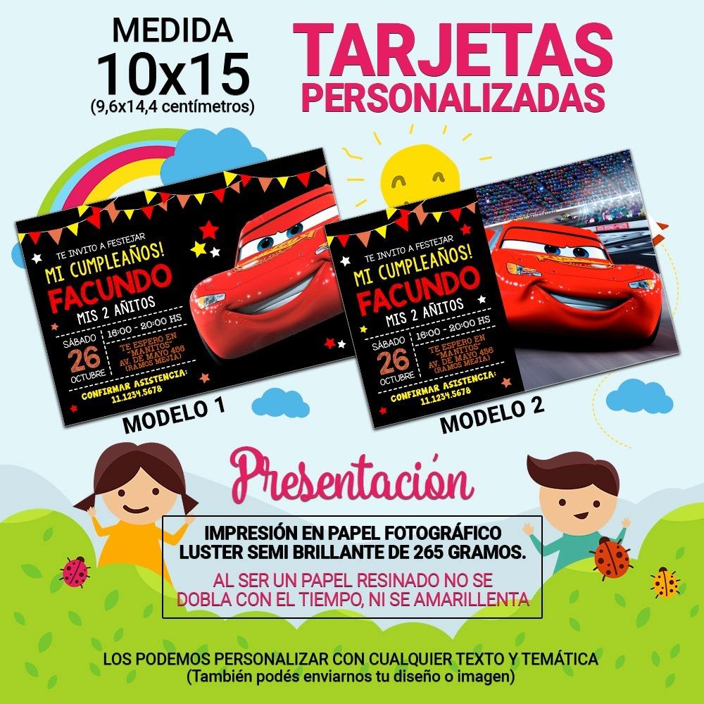 10x15 10 Unidades Tarjeta Invitación Cumpleaños Cars