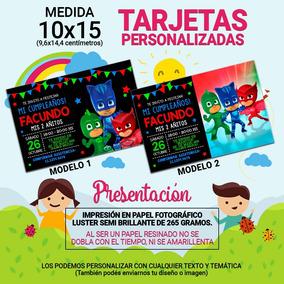 10x15 40u Tarjeta Invitación Cumpleaños Heroes En Pijama
