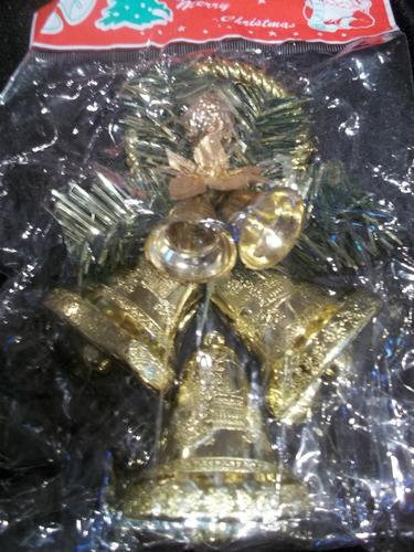 11 adornos navidad campanas doradas de 14 cm