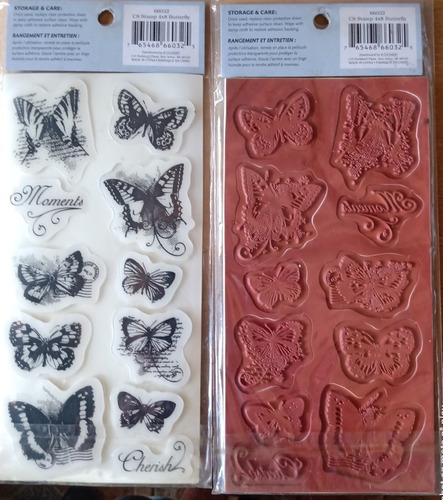 11 rubber cling stamps 4x8 butterfly carimbos
