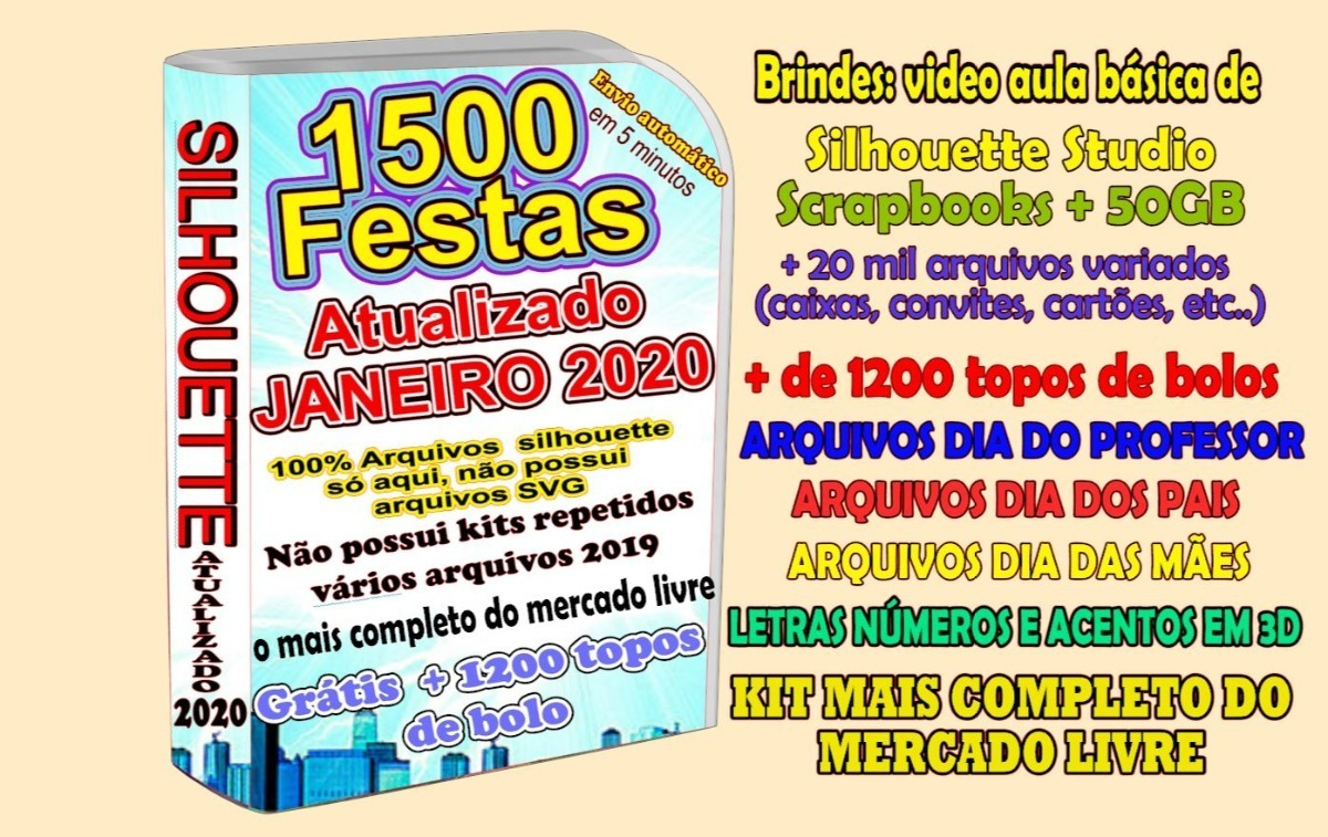 1100 Kit Festas Prontas Arquivo Corte Silhouette 1200 Topo R