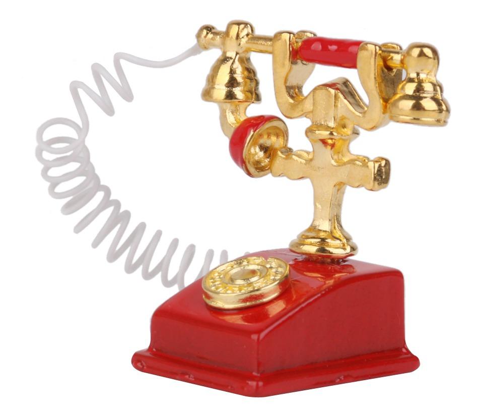 1 12 Casa De Muñecas En Miniatura Teléfono Retro Teléfono