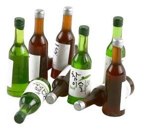 seis botellas de cerveza de plástico escala 1//12th Casa De Muñecas Beber F12