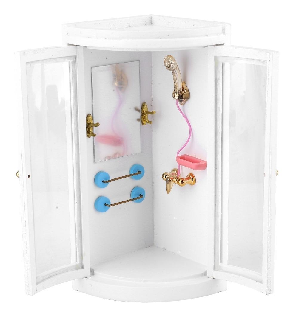 1:12 Mini Casa De Muñecas De Madera Accesorio De Baño Ducha Cuarto Modelo Para Muñecas