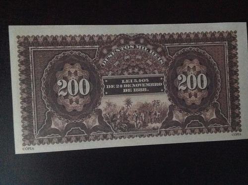 1160  bela cédula b b n c- 200 mil réis - spec 1.890 réplica