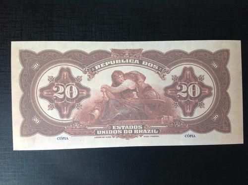 1177 - r-117s - linda cédula de 20 mil réis - 1919 - réplica