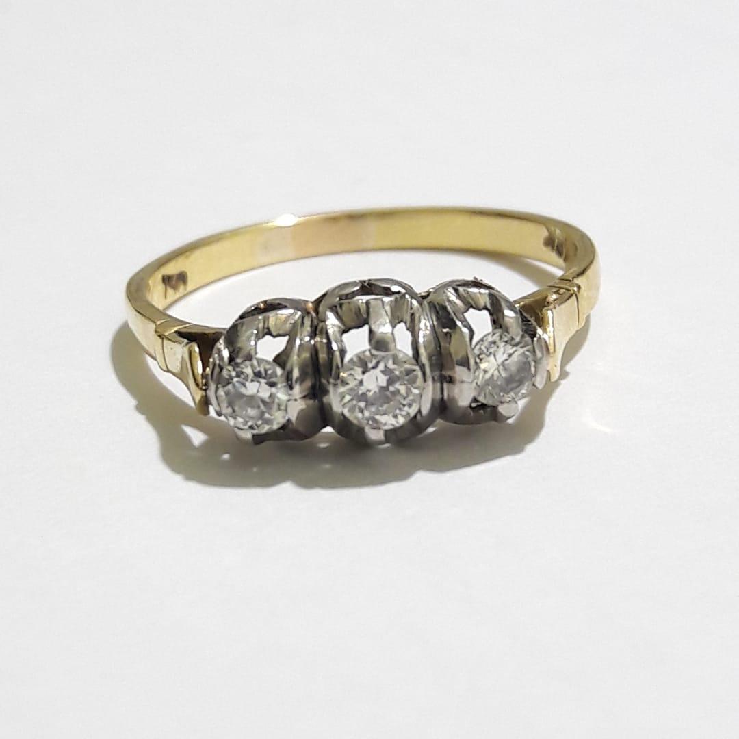 cc8f32c88dea 118-antiguo anillo cintillo trisillo platino oro brillantes. Cargando zoom.
