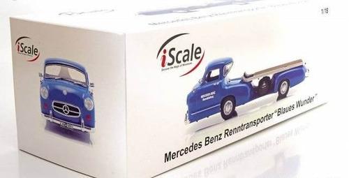 1/18 mercedes renntransporter 1955 iscale cegonha miniatura