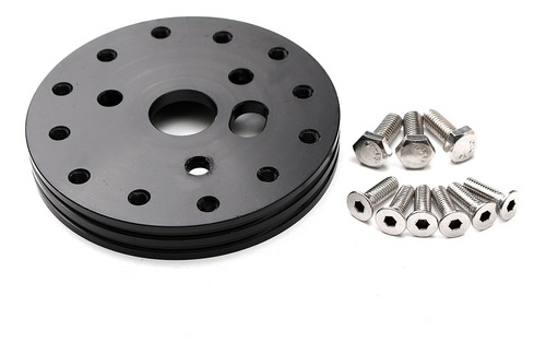 Billet Hub Spacer 3 Hole Adapter To 5 or 6 Hole Steering Wheel Grant APC Black