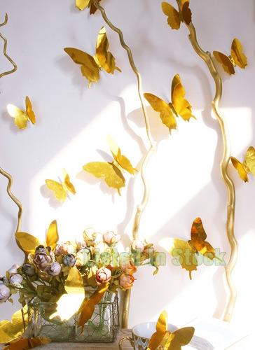12 adesivo parede borboleta espelho 3d kit pvc decoração