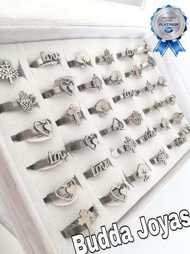 12 anillos formas surtidas acero quirurgico x mayor