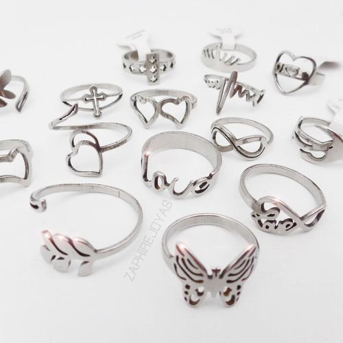 12 anillos formitas caladas surtidas acero quirurgico xmayor