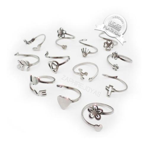 12 anillos formitas regulables acero quirurgico por mayor