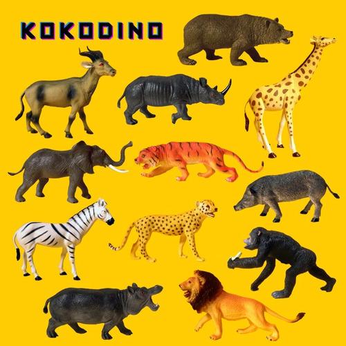 12 animales selva xl zoo juguete animal goma muñeco kokodino