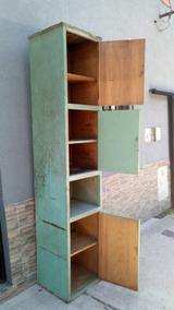 1/2-antiguo Mueble Cocina Taller Madera A Reciclar 2,42 Alto