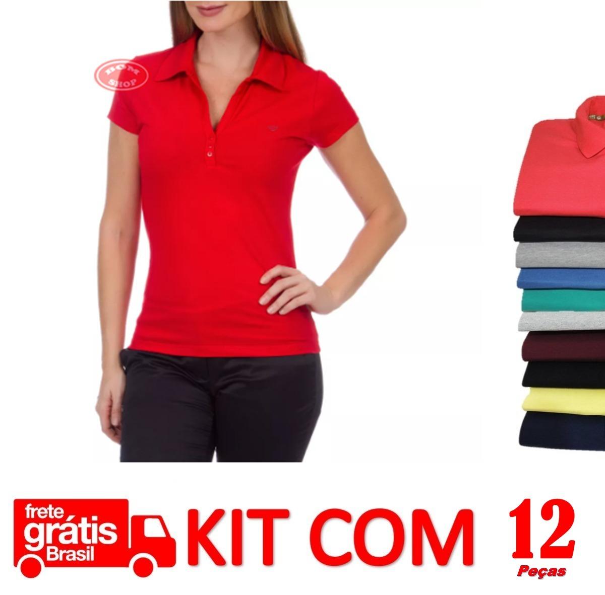 cc4e9f598c 12 blusas polo feminina camisa básica 100% algodão baby luke. Carregando  zoom.