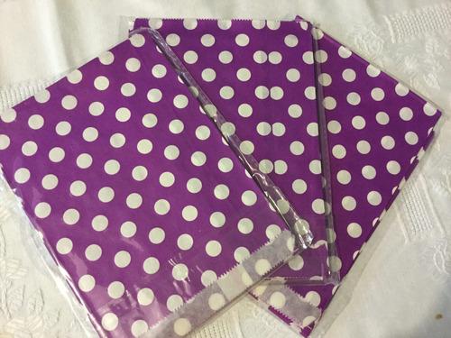 12 bolsas de papel mesa dulces recuerdos color violeta kraft