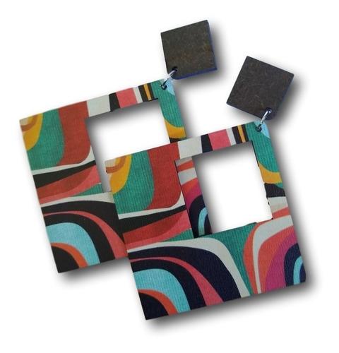 12 brincos em mdf impressos  geométricos  ref: 0320 atacado