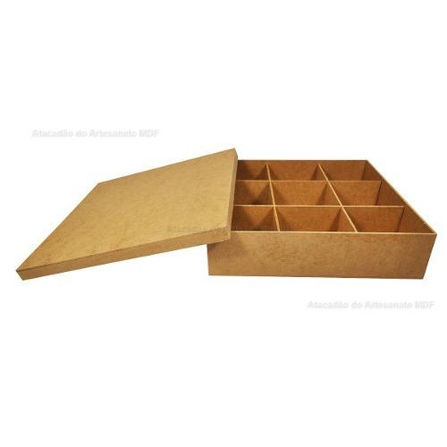 12 caixa tampa sapato c/ 9 divisoria 30x30x7 madeira mdf cru