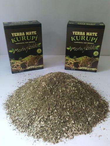 12 caixinhas 500g erva kurupi paraguai menta e boldo