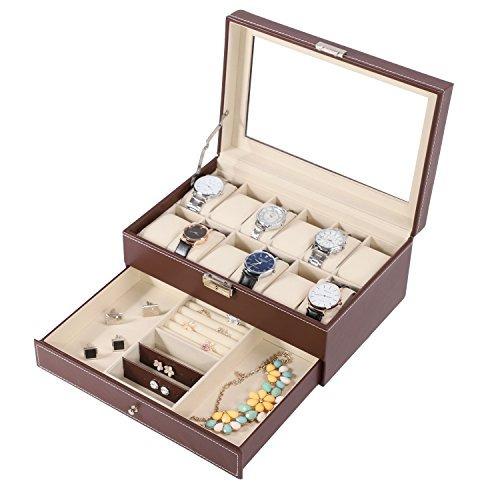 12 caja de reloj watch display organizer con pu cuero panta