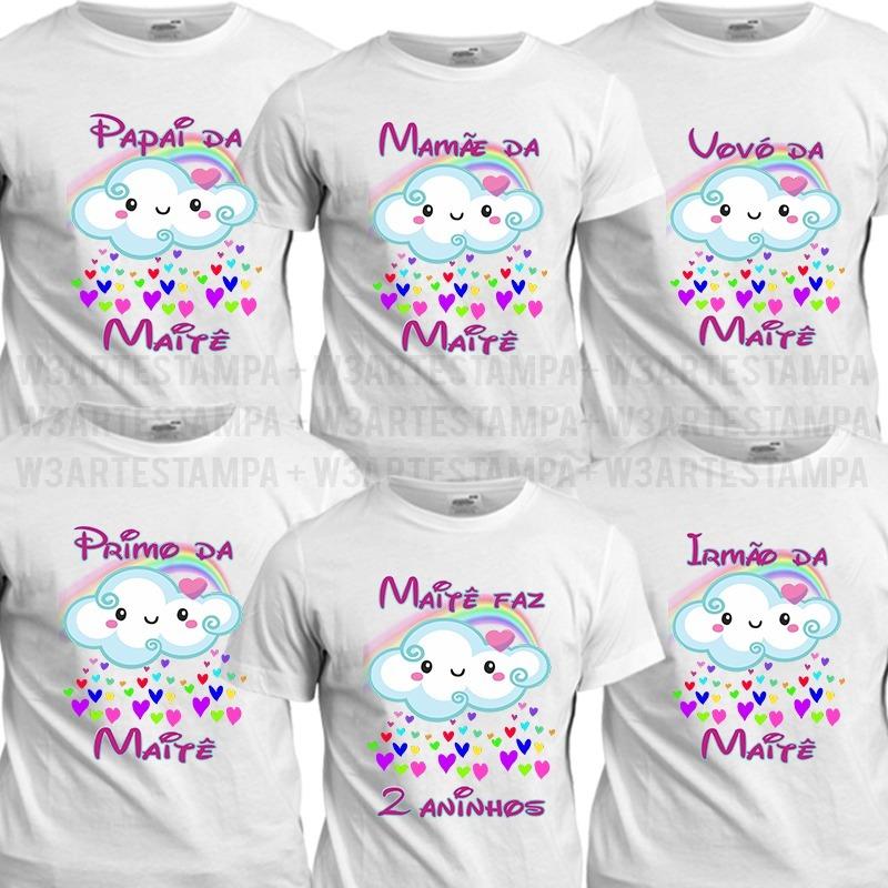 712017e95 12 camisetas chuva de benção amor aniversario festa nuvens. Carregando zoom.