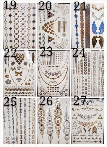 12 cartelas flash tattoos gold tatuagem temporaria adesiva
