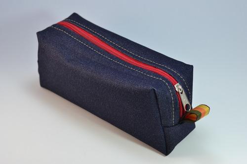 12 cartucheras tubo de jean grandes / precio mayorista