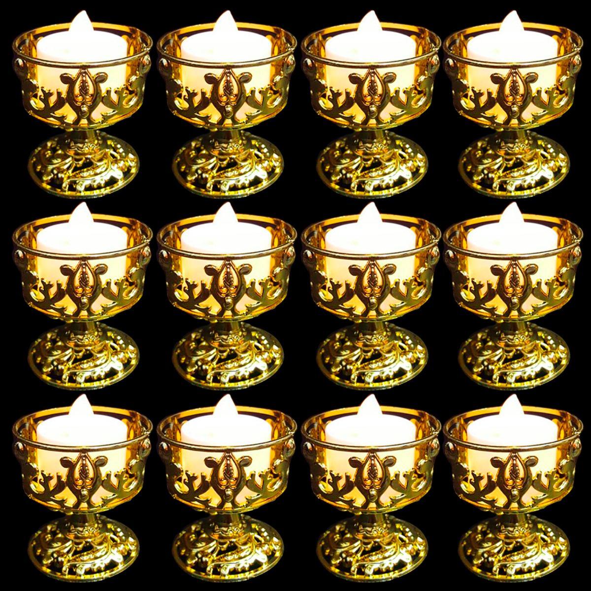 12 casti al dourado proven al decora o vela led r 60 - Soporte para velas ...