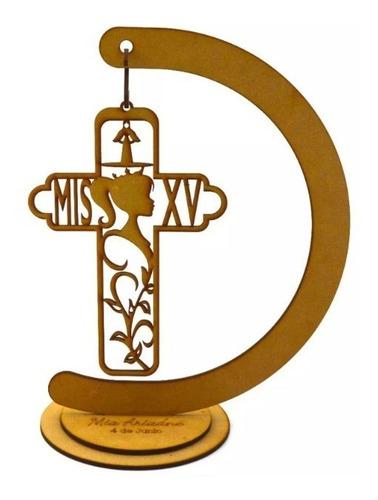 12 centro de mesa cruz mis xv quince años de 30cm art1932